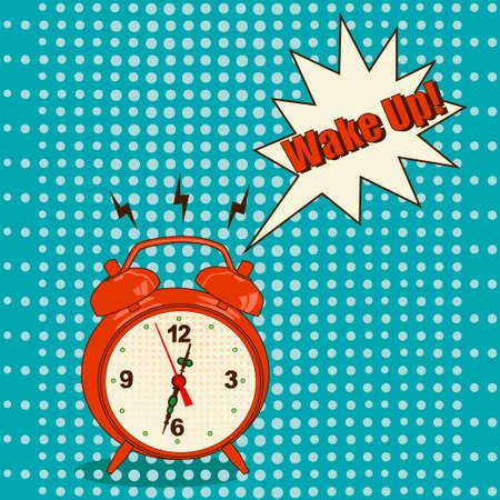 beat the clock: Orange alarm clock in pop art style on blue background - Vector Illustration