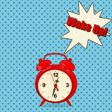 minute hand: Red alarm clock in pop art style on blue background- Vector Illustration