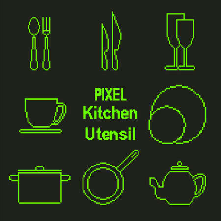 fork in path: Vector icons set of kitchen utensil in pixel art style