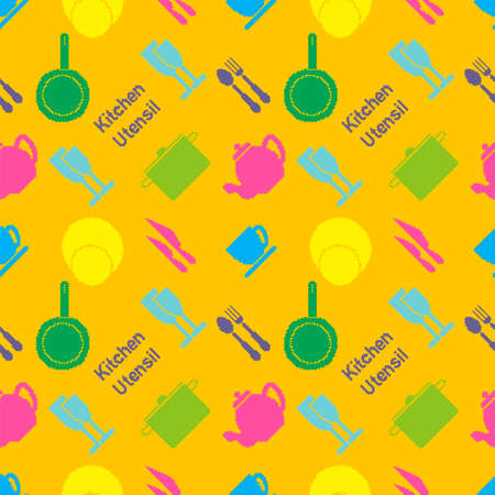 fork in path: Seamless pattern of colored kitchen utensil in pixel art style