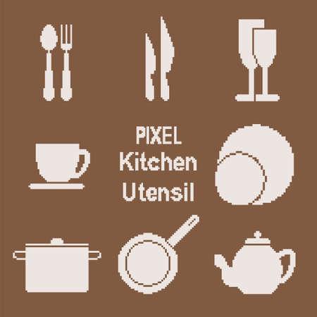Vector icons set of kitchen utensil in pixel art style