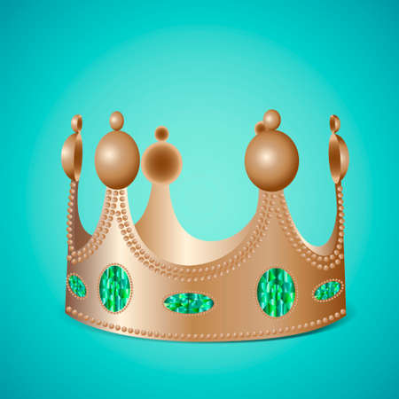photo realistic: Bronze crown with gems on blue background in photo realistic style - Vector illustration