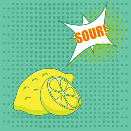 limon caricatura: Dos limones con sabor discurso burbujas en el fondo verde en el estilo del arte pop - ilustraci�n vectorial