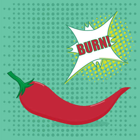 red pepper: Hot red pepper with taste speech bubble on green background in pop art style  - Vector illustration