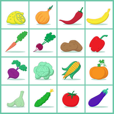 Icons of fruits and vegetables - Vector illustration