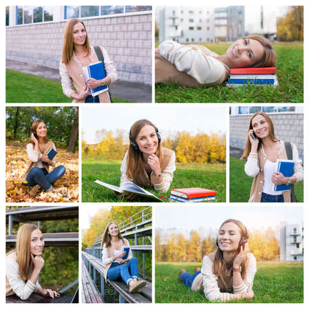 educational institution: Photo collage as student spends time at campus in autumn. Set for booklet of educational institution and school Stock Photo
