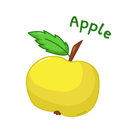 yellow apple: Isolated icon of raw yellow apple with name Illustration