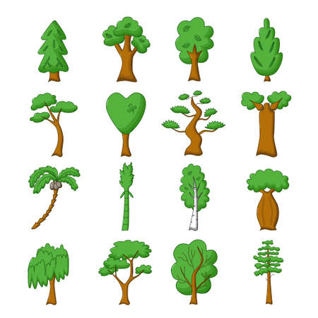Conjunto de árboles aislados diferentes en estilo de dibujos animados Ilustración de vector