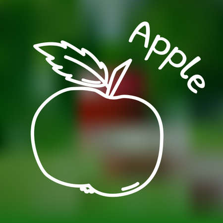 market gardening: White thin line icon of apple with name on mesh background