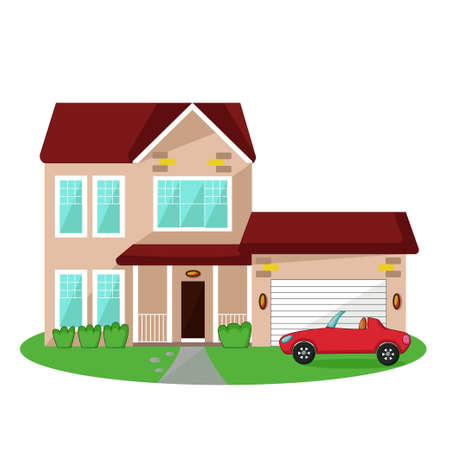 house building: Isolated icon of house with garage and car