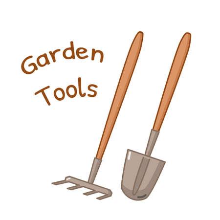 rake: Isolated icon of gardening tools - rake and shovel