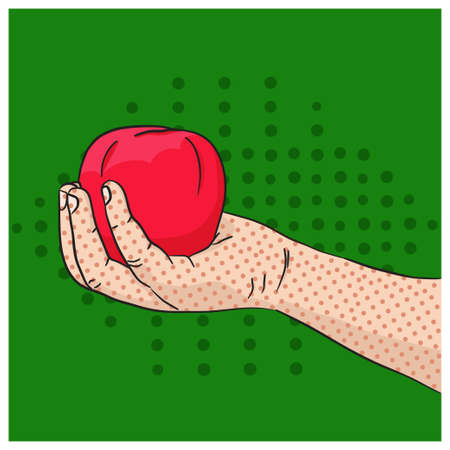 apple green: Childs hand holding red apple on green background in pop art style