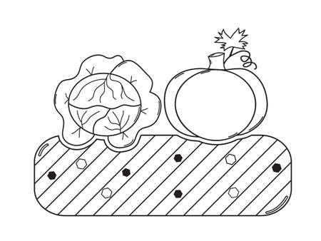 terra: Thin line garden bed with mature cabbage and pumpkin