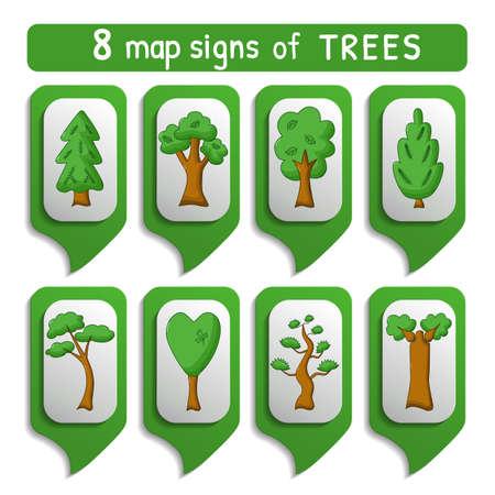arboles caricatura: Conjunto de árboles de mapas señales en estilo de dibujos animados