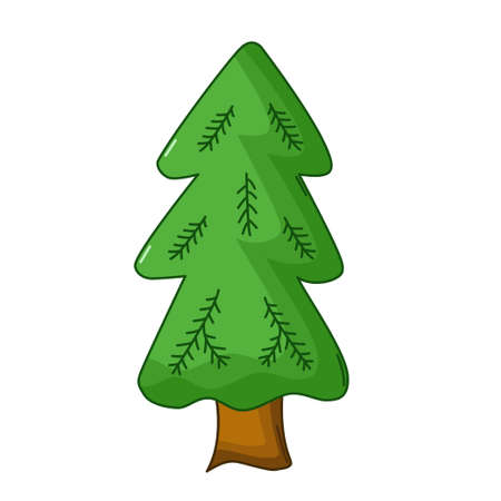 spruce tree: Spruce tree icon in cartoon style isolated on white background