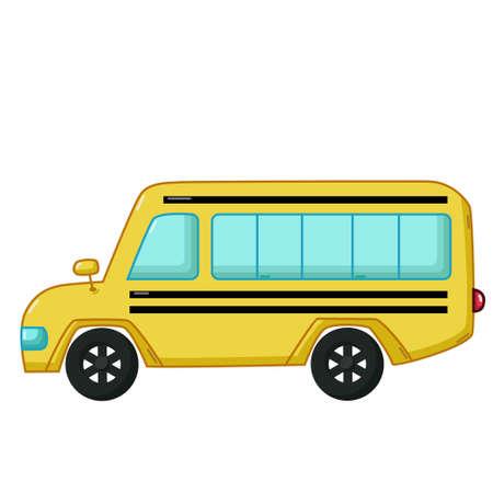 escuela caricatura: icono de transporte urbano en el estilo de dibujos animados aislado en el fondo blanco. autobús escolar amarillo