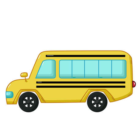 school icon: Urban transport icon in cartoon style isolated on white background. Yellow school bus