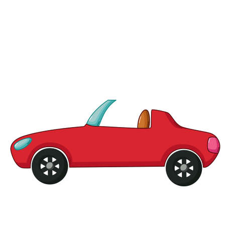 cabriolet: Urban transport icon in cartoon style isolated on white background. Red cabriolet Illustration