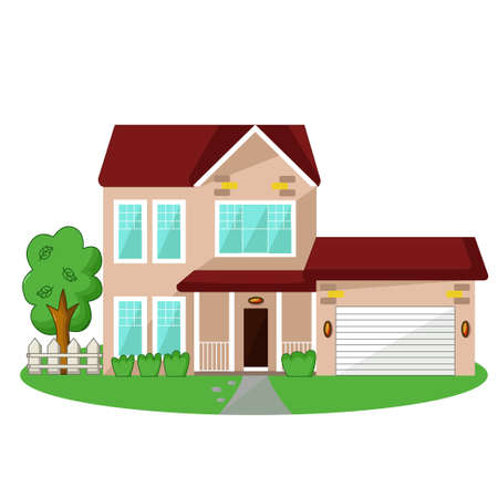 grass plot: Isolated icon of house with garage and garden on white background