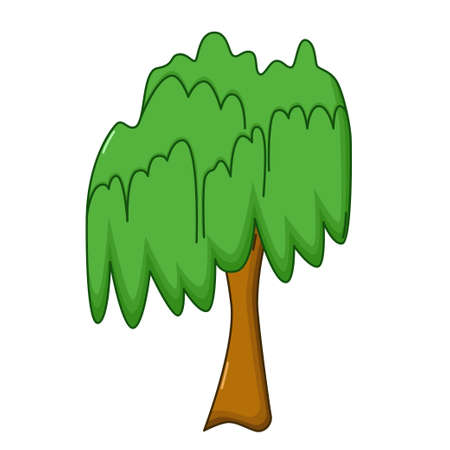 reforestation: Willow tree icon in cartoon style isolated on white background