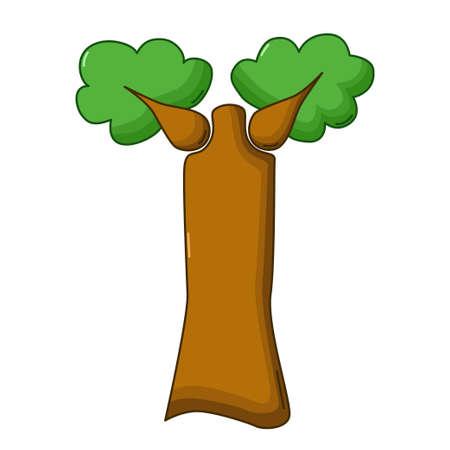 baobab: Baobab tree icon in cartoon style isolated on white background Illustration