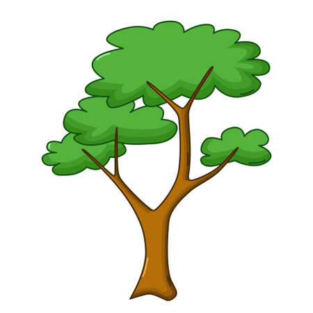 treetop: Savanna tree icon in cartoon style isolated on white background