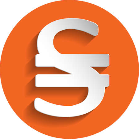 paper currency: Ukraine currency sign icon in paper style isolated on orange round element