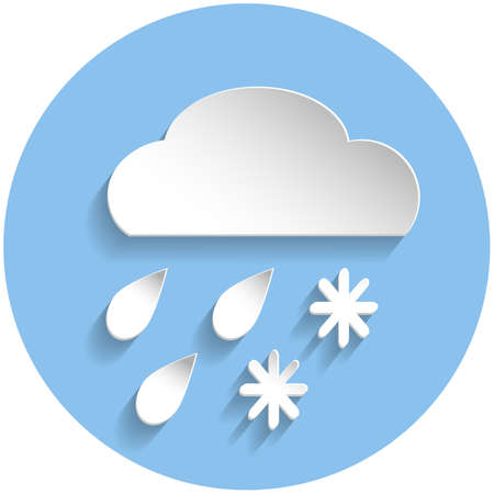 meteorologist: Snow and rain cloud icon in paper style on blue round background