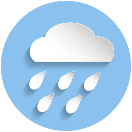 meteorologist: Raining cloud icon in paper style on blue round background