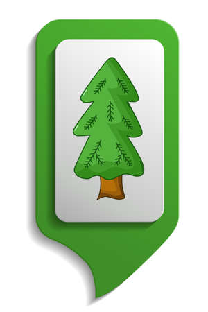 spruce tree: Spruce tree map sign icon in cartoon style on white background