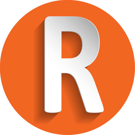 rand: Rand icon in paper style isolated on orange round element