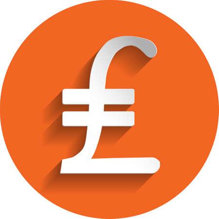 lira: Turkey lira icon in paper style isolated on orange round element