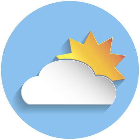 meteorologist: Sun and cloud icon in paper style on blue round background
