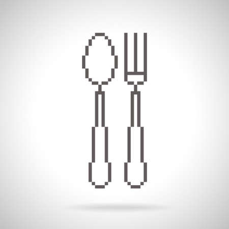 fork in path: Spoon and fork icon in pixel art style with shadow on gradient background