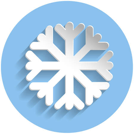 meteorologist: Snowflake icon in paper style on blue round background