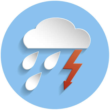meteorologist: Thunderstorm cloud icon in paper style on blue round background Illustration