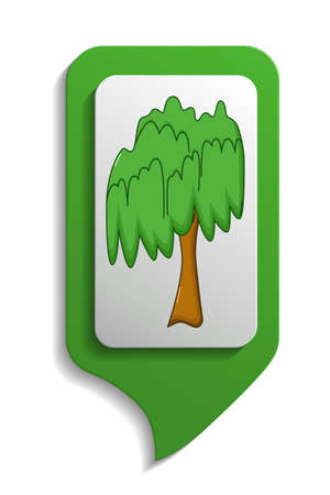 willow tree: Willow tree map sign icon in cartoon style on white background Illustration