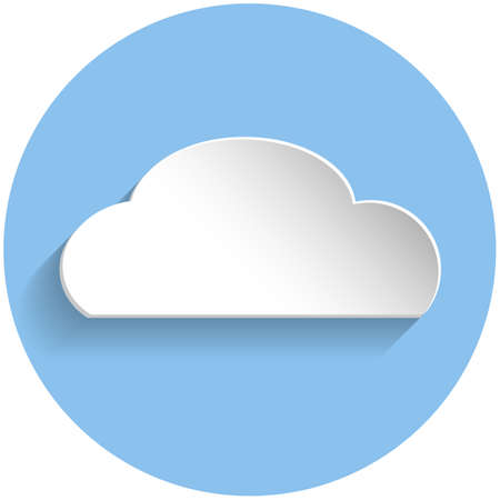 meteorologist: Cloud icon in paper style on blue round background