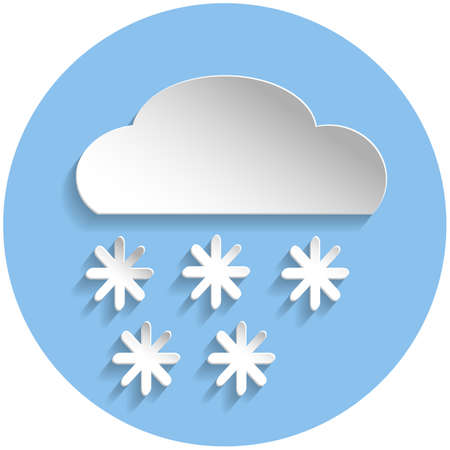 cloud computer: Snowflake cloud icon in paper style on blue round background