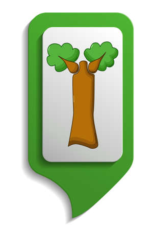 baobab tree: Baobab tree map sign icon in cartoon style on white background