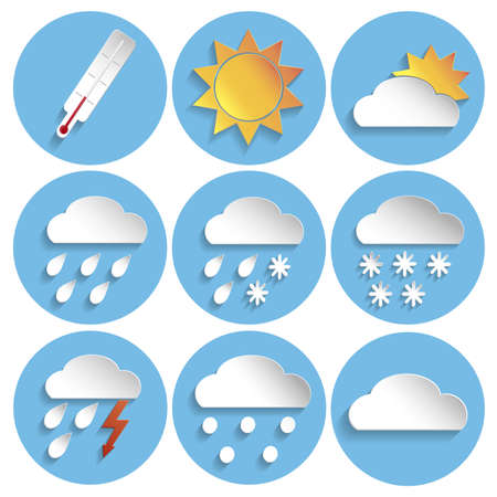 meteorologist: Weather sign icon set in paper style on blue round background