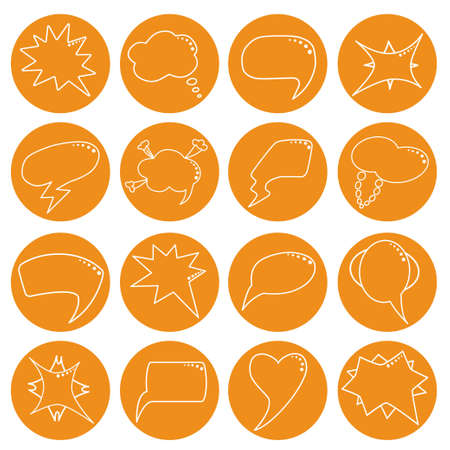 rounds: Speech bubbles set in orange rounds in thin line style