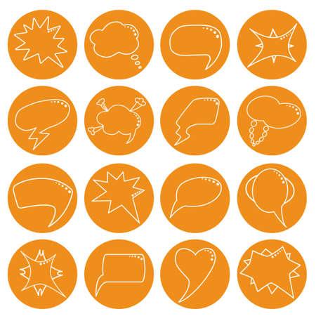 bombing: Speech bubbles set in orange rounds in thin line style