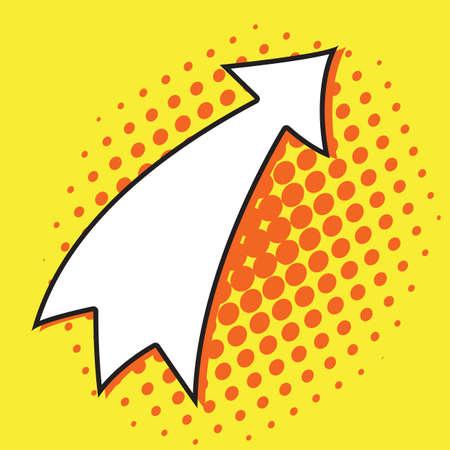 Pop art arrow on yellow background