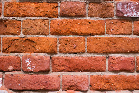 Red ancient brick wall of mansion. Horizontal background