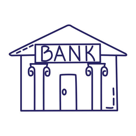 Bank icon in line style on white background Illustration