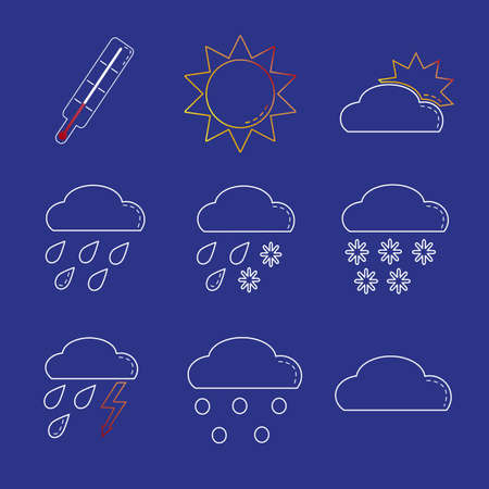 Weather sign icon set in line style on blue background Illustration