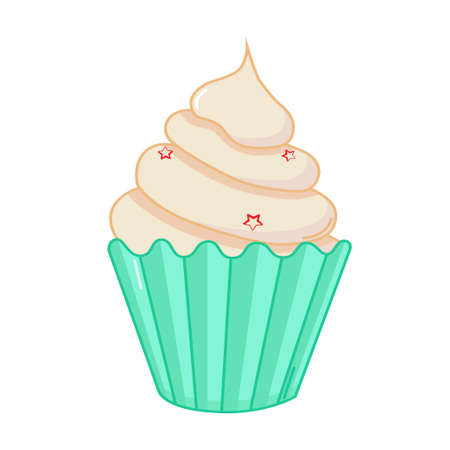 Cupcake icon in comics style on white background