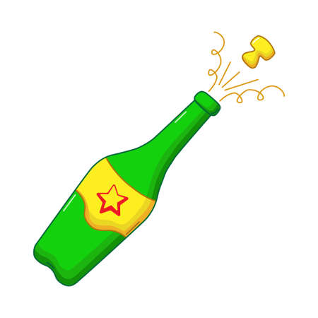 Champagne icon in comics style on white background