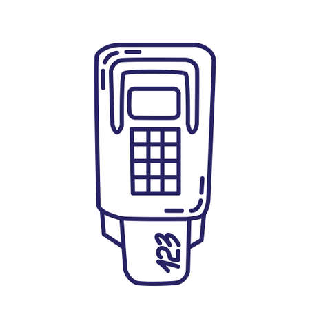 Card terminal icon in line style on white background Illustration
